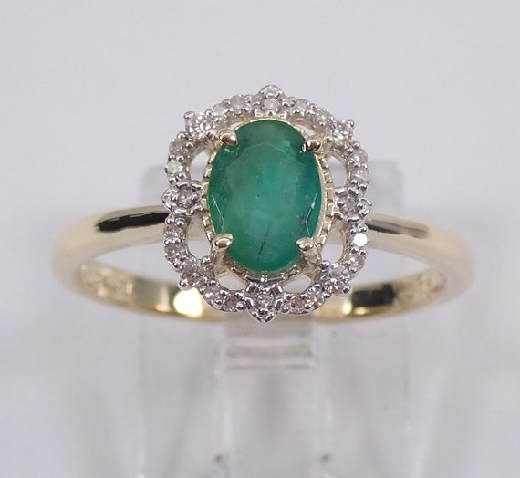 Emerald and Diamond Ring, Emerald Engagement Ring, Yellow Gold Mothers Ring, Emerald Halo Ring, May Birthstone Ring, Size 7