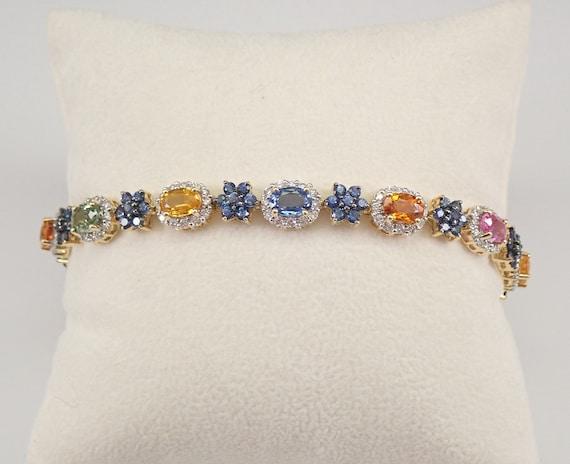 14K Yellow Gold 12.45 ct Multi Color Sapphire and Diamond Halo Tennis Bracelet