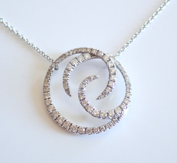 "Diamond Circle Necklace Pendant 14K White Gold Wedding Necklace Chain 16"" Modern"