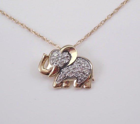 "Yellow Gold Petite Diamond ELEPHANT Pendant Necklace Chain 18"" Good Luck Animal Jewelry"