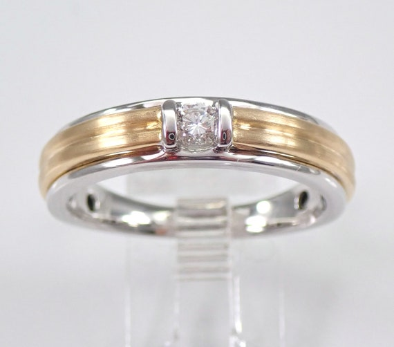 Mens Solitaire Diamond Wedding Ring 14K Two Tone Gold Anniversary Band Size 11