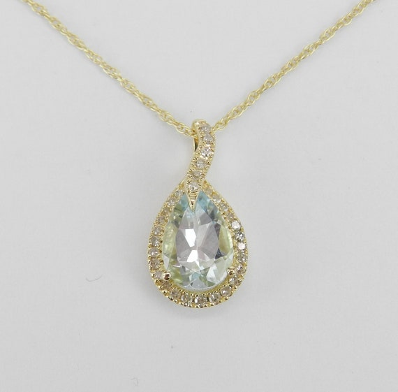 "Yellow Gold Diamond and Aquamarine Drop Pendant Necklace 18"" Chain Aqua March"
