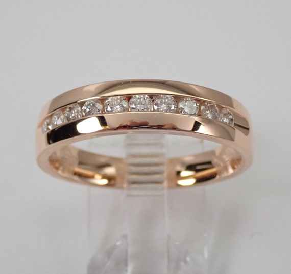 Mens 14K Rose Gold Diamond Wedding Ring Anniversary Band Size 10.25