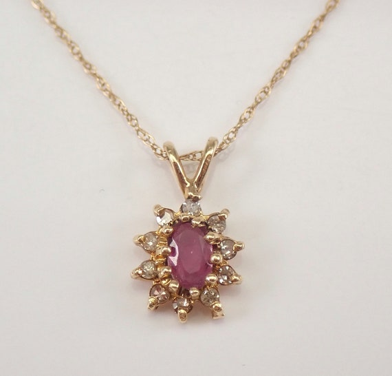 """Vintage Diamond and Ruby Halo Pendant Necklace Yellow Gold 18"""" Chain July Birthstone"""