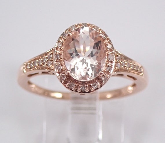 Oval Morganite and Diamond Halo Engagement Ring Rose Gold Size 7 Pink Aqua FREE Sizing