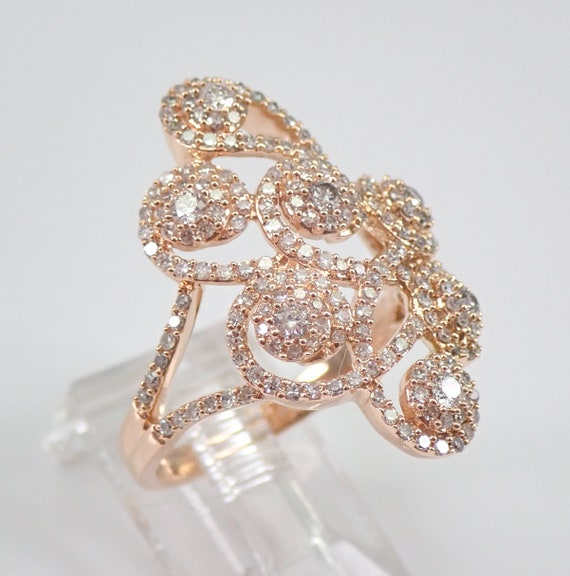 Rose Gold 1.25 ct Diamond Cluster Ring Halo Fashion Right Hand Ring Size 7 FREE Sizing
