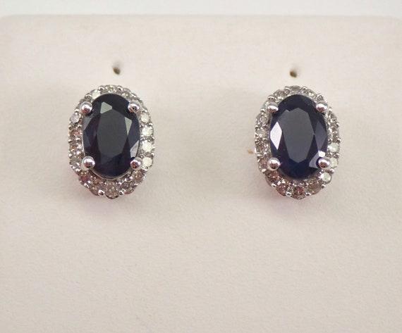 14K White Gold Sapphire and Diamond Stud Earrings Halo Studs September Birthstone