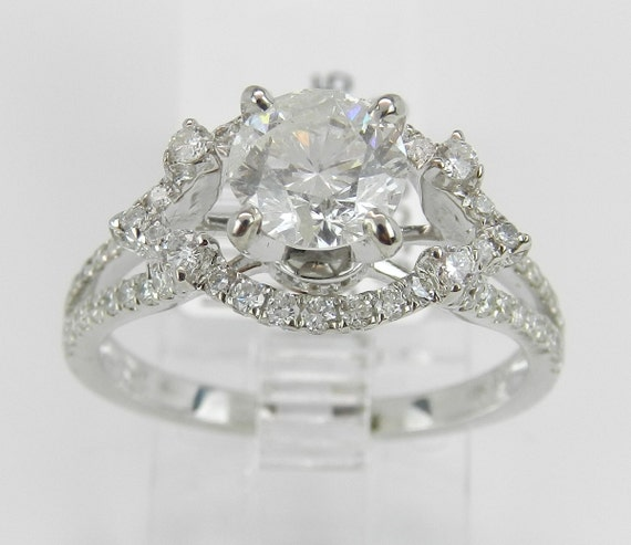 Diamond Engagement Ring 18K White Gold 1.65 ct Brilliant Natural Genuine Size 6.75