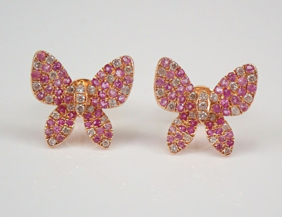 18K Rose Gold Diamond and Pink Sapphire Cluster BUTTERFLY Stud Earrings Wedding GIFT