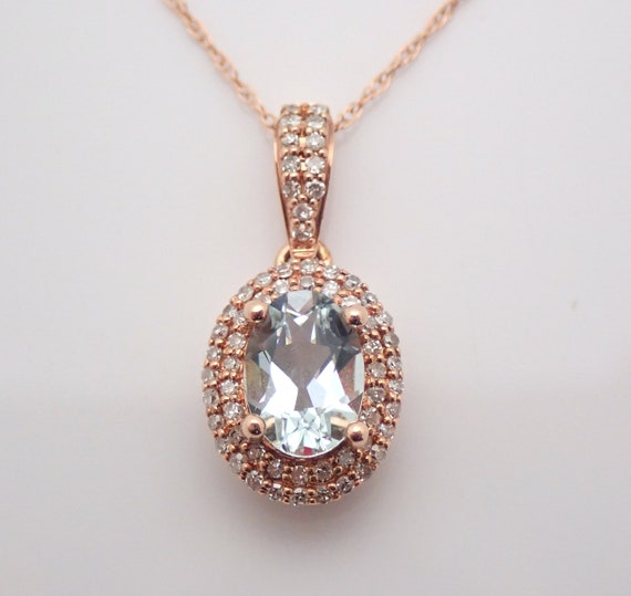 "14K Rose Gold Diamond and Aquamarine Halo Necklace 18"" Chain Aqua Pendant March Gemstone"