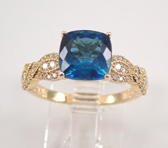 Cushion Cut London Blue Topaz and Diamond Engagement Ring 14K Yellow Gold Size 7 December Birthstone FREE Sizing