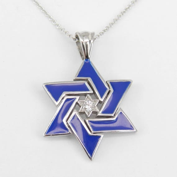 "14K White Gold Diamond and Blue Enamel Star of David Pendant Necklace 18"" Chain Jewish Religious Charm"
