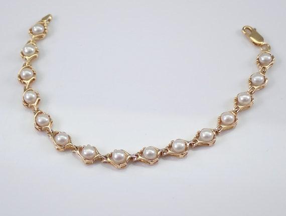 Vintage Antique Estate 14K Yellow Gold Pearl Tennis Bracelet June Birthstone