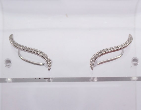Diamond Ear Climbers Earrings Crawler White Gold Modern Wedding Gift Bridesmaid Present