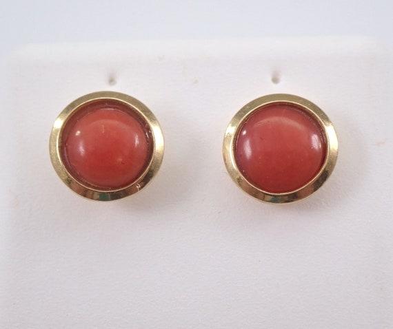 Vintage Antique CORAL Stud Earrings Halo Studs 18K Yellow Gold Bezel Set Earring