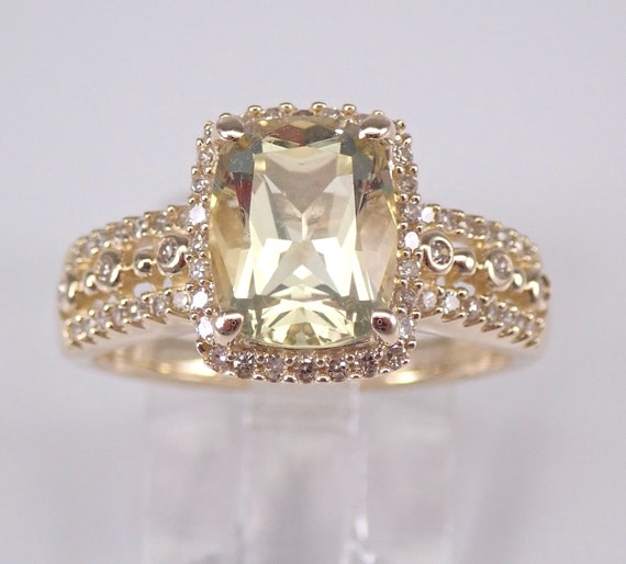 Lemon Quartz and Diamond Engagement Ring Cushion Cut Yellow Gemstone Halo Ring 14K Yellow Gold Size 7.25