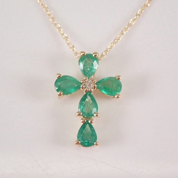 """Diamond and Emerald Cross Pendant Necklace 18"""" Chain Yellow Gold Religious Charm"""