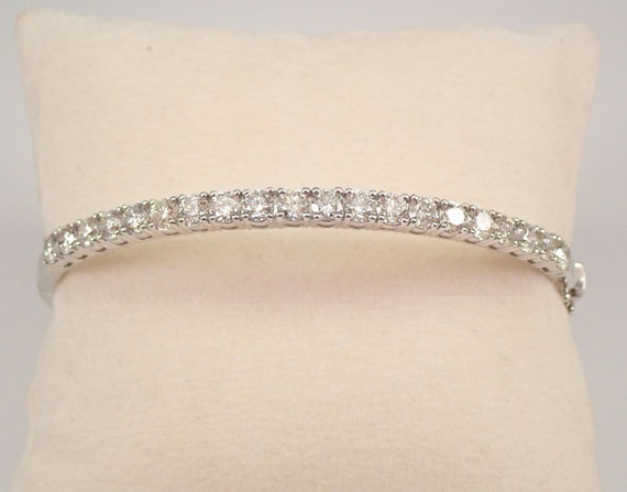 14K White Gold 4.00 ct Diamond Bangle Bracelet Hinged Cuff PERFECT GIFT