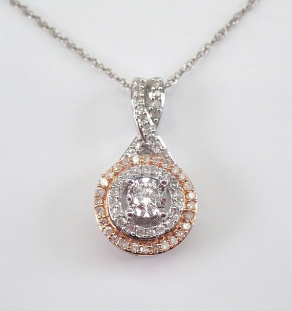 "White and Rose Gold Diamond Halo Solitaire Pendant Necklace 18"" Chain Wedding Gift Graduation Gift Present"