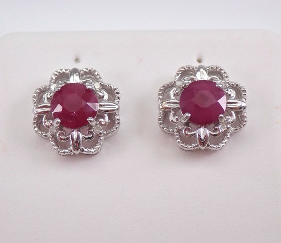 Ruby and Diamond Stud Earrings Halo Flower Wedding Studs 14K White Gold July Gemstone