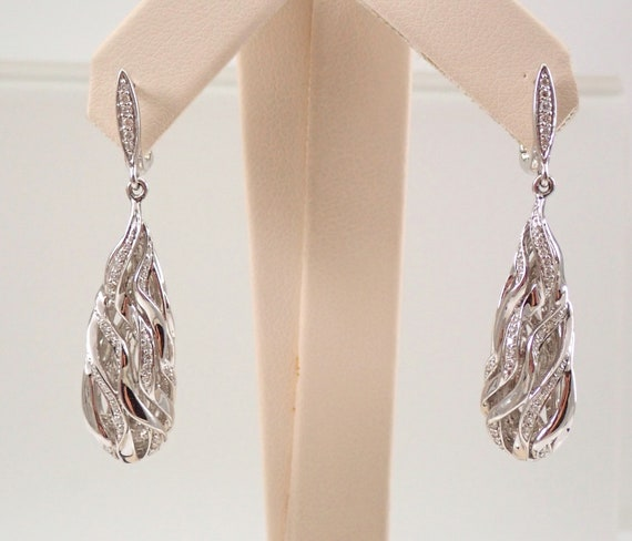18K White Gold Diamond Dangle Drop Earrings European Style Clasp Ribboned Design