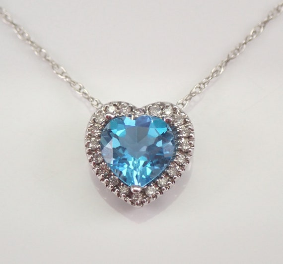"""White Gold Diamond and Heart Blue Topaz Halo Pendant Necklace 18"""" Chain"""