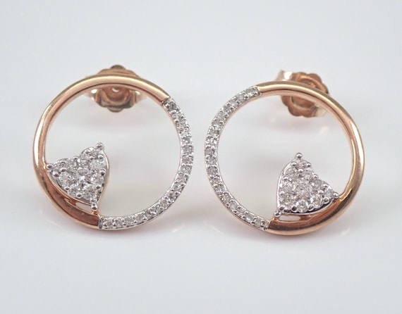Diamond Earrings Circle Heart Cluster Stud Earrings Rose Gold Modern Geometric Design