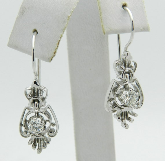 Diamond Dangle Drop Earrings Vintage Antique Reproduction 14K White Gold