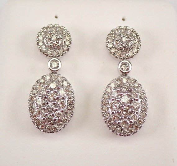 14K White Gold 1.00 ct Diamond Cluster Drop Earrings WEDDING GIFT Free Shipping