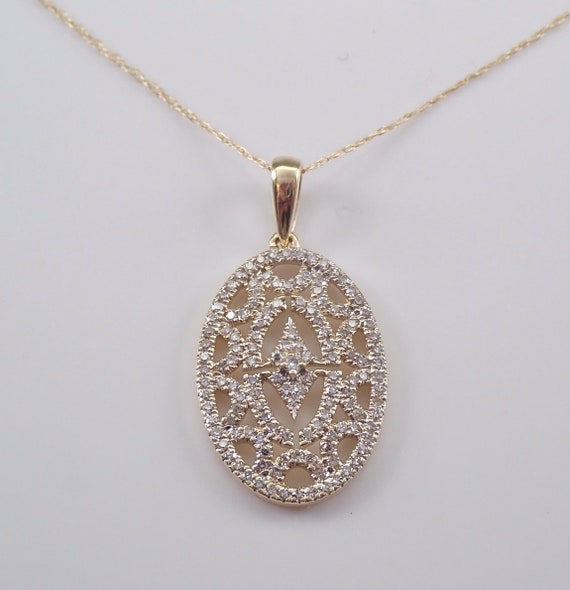 Diamond Cluster Pendant 14K Yellow Gold Wedding Necklace Oval Drop Chain 18""
