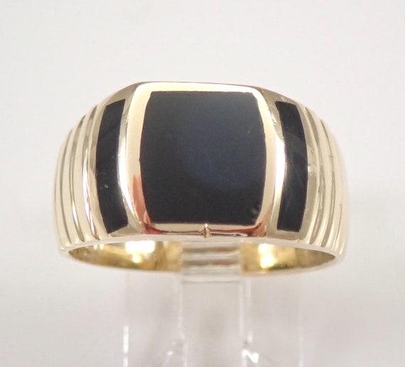 Mens Vintage Antique Black Onyx Wedding Ring 14K Yellow Gold Size 8.5 Engraved