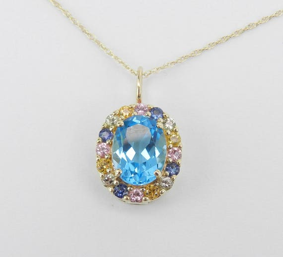 "Multi Color Sapphire and Blue Topaz Halo Pendant Necklace Yellow Gold 18"" Chain"