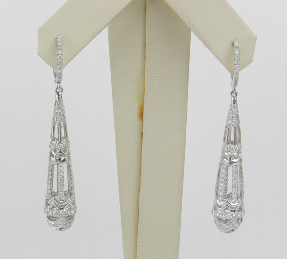 18K White Gold 2.30 ct Diamond Earrings Unique Chandelier Dangle Drop Wedding Gift