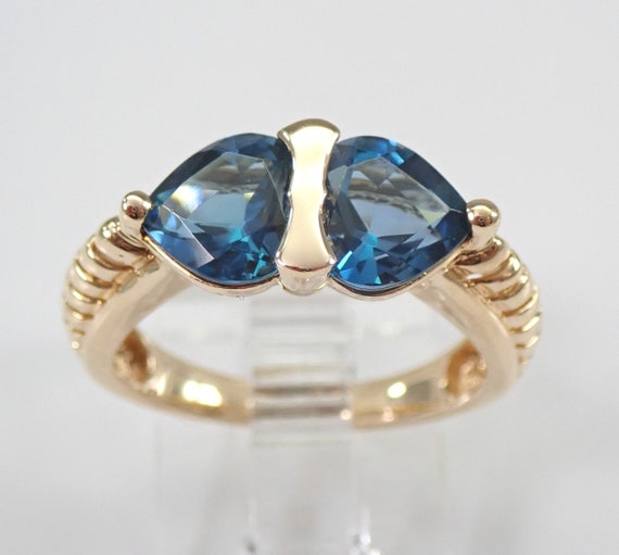 Vintage Two Stone Yellow Gold Heart London Blue Topaz Ring Size 6 December Birthstone FREE Sizing