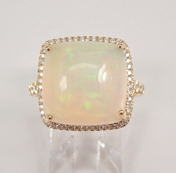 14K Yellow Gold 8.44 ct Cushion Cut Opal and Diamond Halo Engagement Ring Size 7 October Gemstone FREE Sizing