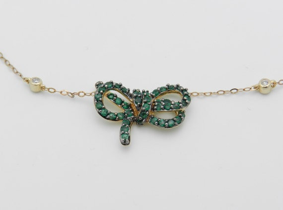 "Diamond and Emerald Necklace Pendant 14K Yellow Gold 17"" Chain Green Bow Tie"