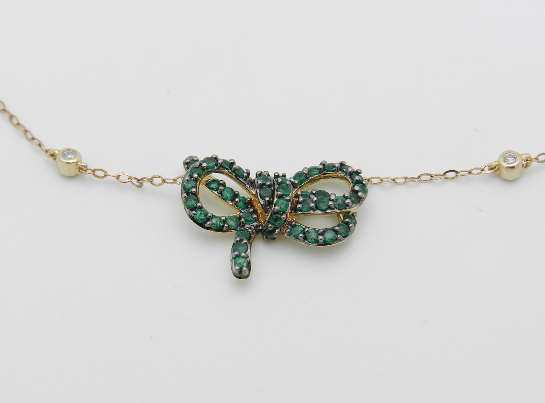 80051b987c09c Diamond and Emerald Necklace Pendant 14K Yellow Gold 17 Chain ...