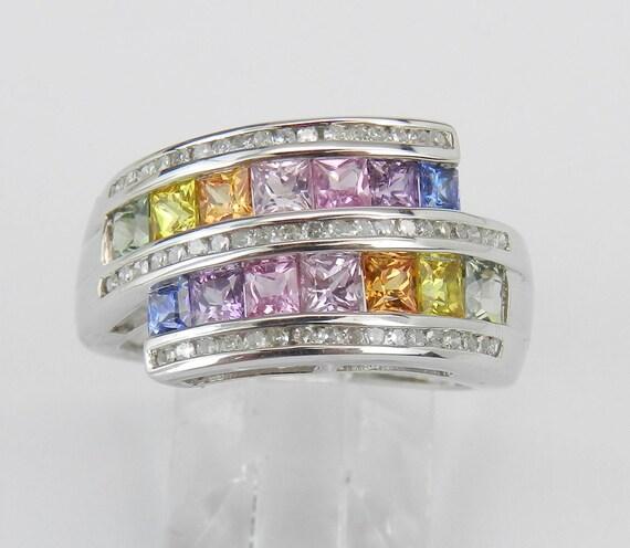 Multi Color Sapphire Diamond Unique Ring Anniversary Band 14K White Gold Size 7 Pink Purple Yellow Orange