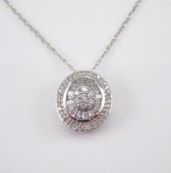 "Oval Diamond Cluster Pendant White Gold Diamond Wedding Necklace Chain 18"""