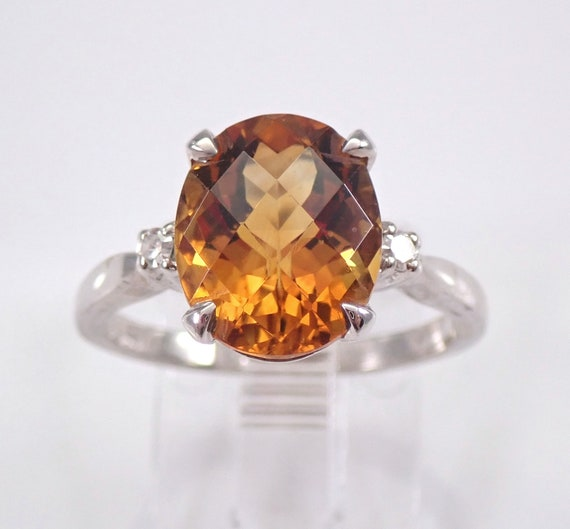 Diamond and Citrine Engagement Ring 14K White Gold Size 6.5 November Gemstone
