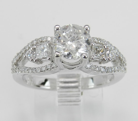 1.45 ct Round Brilliant Natural Diamond Engagement Ring 14K White Gold