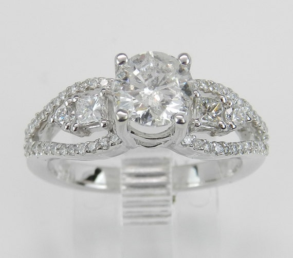 1.45 ct Round Brilliant Natural Diamond Engagement Ring 14K White Gold
