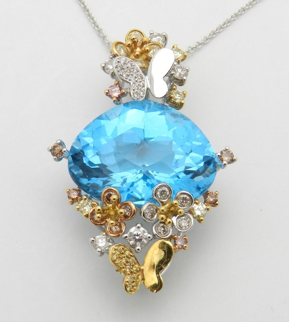 One of A Kind Necklace, Diamond and Blue Topaz Pendant, Butterfly Necklace, Diamond Flower Pendant, 18K Tri Color Gold Pendant and Chain