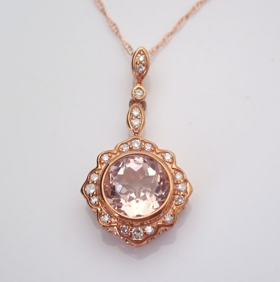 "Morganite and Diamond Halo Dangle Pendant Necklace 18"" Chain Rose Gold Wedding Gift"