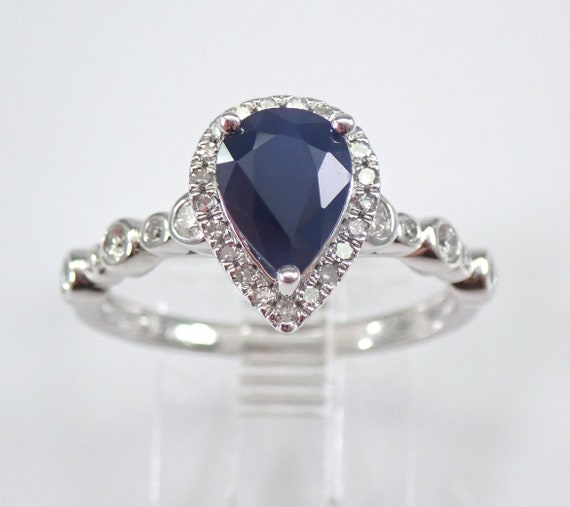 14K White Gold Diamond and Pear Sapphire Halo Engagement Ring Size 7 September Gemstone FREE Sizing