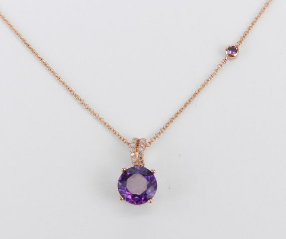 Amethyst Solitaire Necklace, Diamond and Amethyst Pendant, Rose Gold Necklace with Chain, February Birthstone