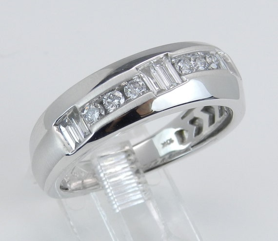 Men's Diamond Wedding Ring Unique Anniversary Band White Gold Size 10.25