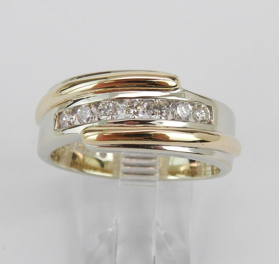 Mens Diamond Band, Two Tone Ring, 14K Gold Diamond Wedding Ring, Mens Anniversary Band, Size 9.5
