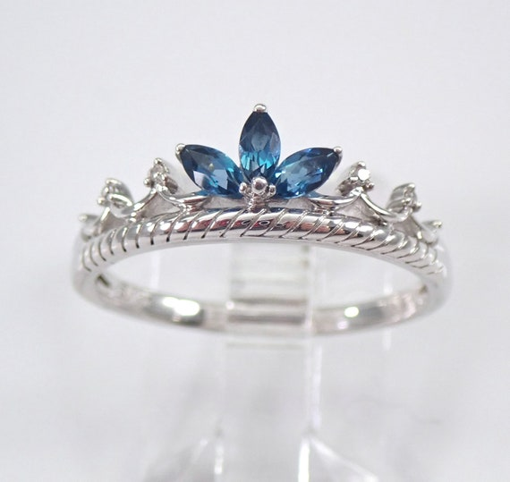 London Blue Topaz and Diamond Crown Ring White Gold Chevron Ring Size 7.25 Free Sizing