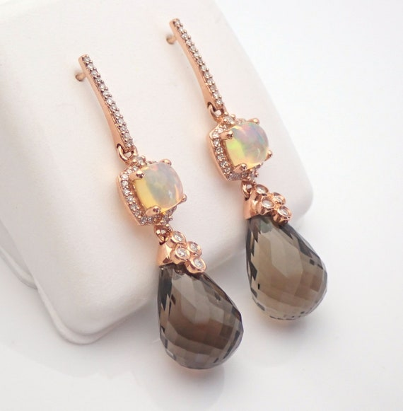 Rose Gold Diamond, Opal and Smokey Topaz Briolette Dangle Drop Earrings